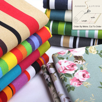 150cm Wide Pure Cotton Canvas Floral Printed Fabric Colorful Striped Canvas Home Decorative Craft Fabric Awning