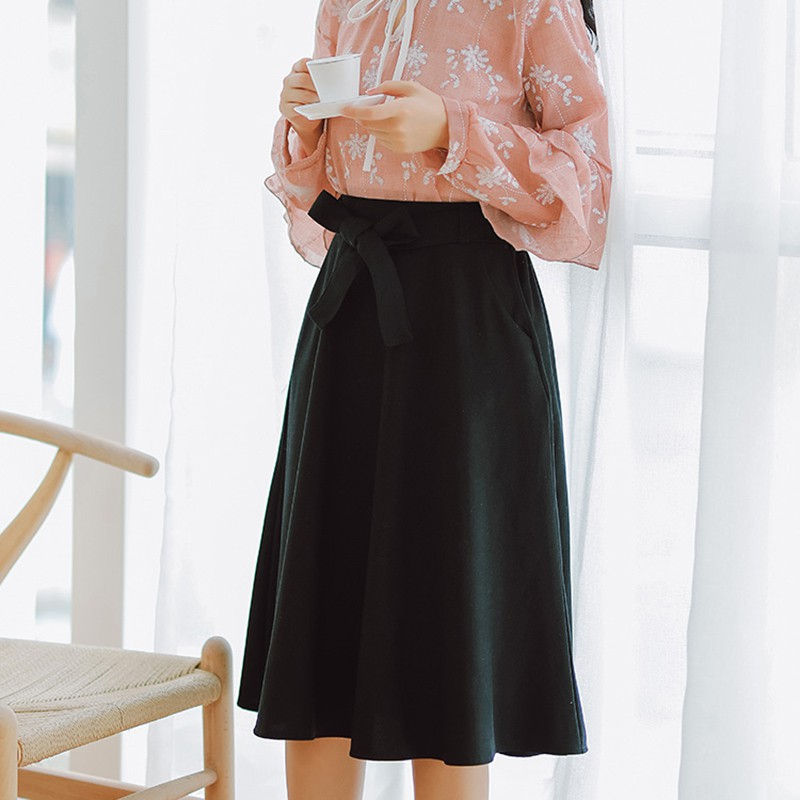 Image 2 - Elegant Women Skirt High Waist Pleated Knee Length Skirt Vintage A Line Big Bow Skirts