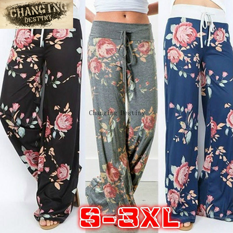 Euramerican Womens Lady Loose Casual Harem   Pants   Print High Waist   Wide     Leg     Pants   Women's Flower Hip Hop Slacks Trousers Joggers