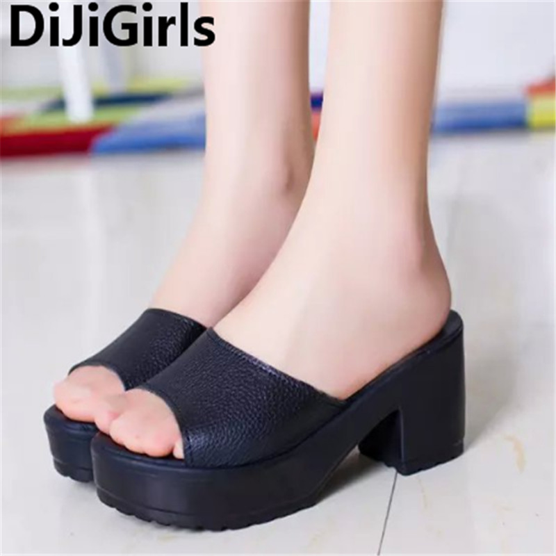 High Heels Sandals Slippers Solid Non-Slip Thick Soled Female Platform Wedge Women Slippers Summer 2017 Beach Slippers slip resistant summer sandals female drag platform female beach slippers flatbottomed women s slippers