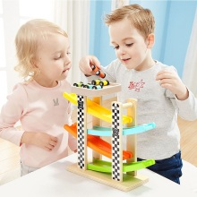 Wooden Ladder Glide Path Slide Car Educational Toys For Children Colorful Car Transportation Building Sets Develop Intelligence цена и фото