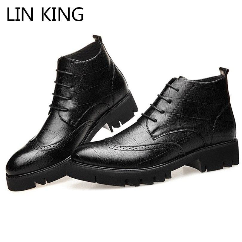 LIN KING Vintage hommes bottes courtes richelieu Chelsea bottes haut décontracté en cuir bottes Meb chaussures militaires travail chaussures de sécurité