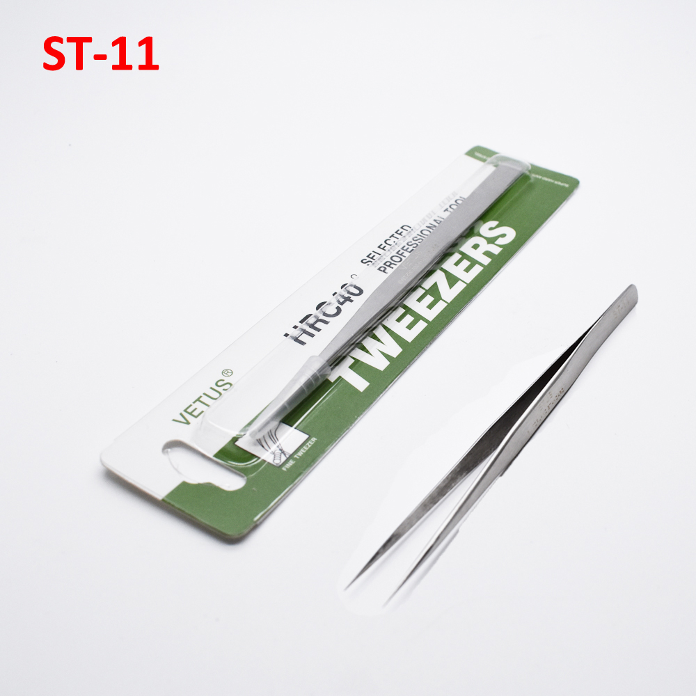 1pcs Precision Stainless Steel Tweezers Diy Vetus Switzerland Tweezers Herramientas Repair Tools ST-11