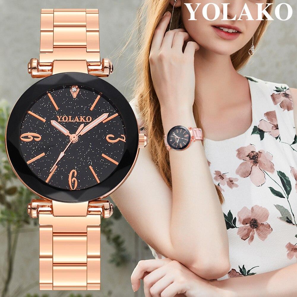 YOLAKO Brand Luxury Steel Belt Bracelet Watches Women Quartz Wristwatch Rose Gold Rhinestone Starry Sky Watch Clock Relogio  #W(China)