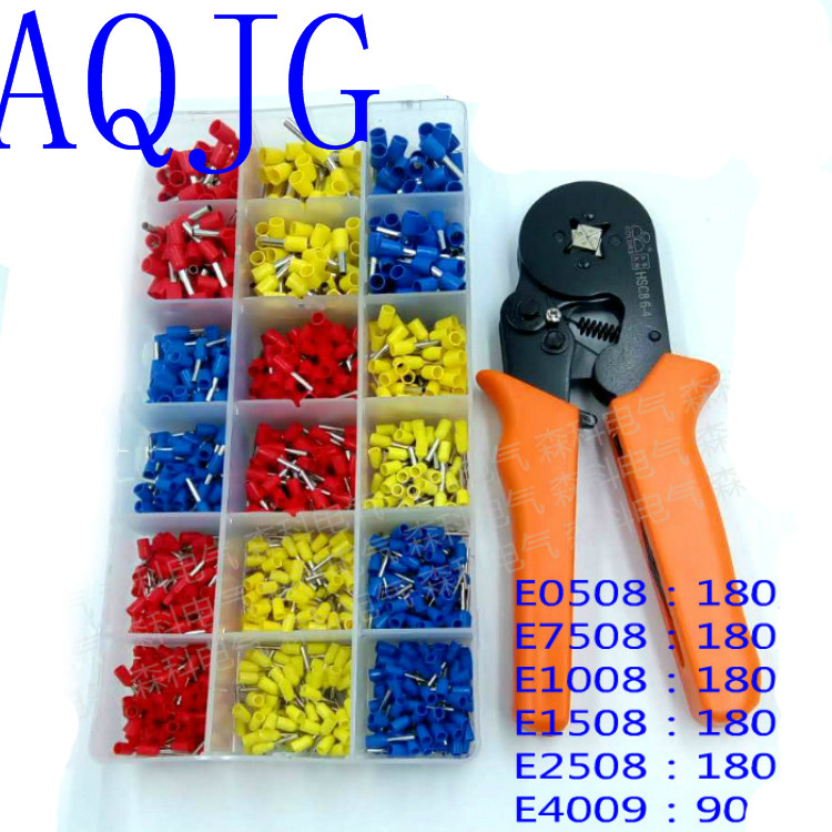 HSC8 6-4 with 990pcs termina crimping pliers crimping tube terminals pliers crimping tools E0508 E7508 E1008 E1508 E2508 E4009 free shipping hsc8 6 4 6 4a 6 4b 6 6 6 6a 6 6b with 400pcs termina crimping pliers crimping tube terminals pliers crimping tools