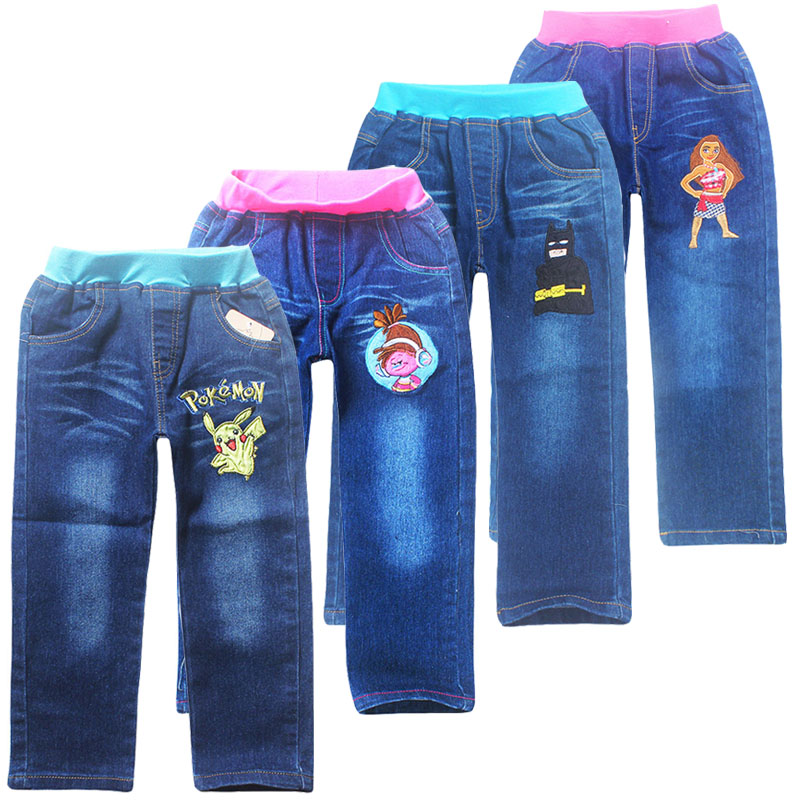 Jeans For Kids 2018 New Pokemon Fashion Pant Baby Boys girls Trousers For Autumn Spring Children trolls moana long Jean Pants