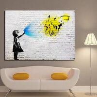 Современная Абстрактная Живопись Маслом Бэнкси Вдохновленный Pokemon GO Girl Граффити Живопись Для Гостиной Украшения Дома Wall Art Prints