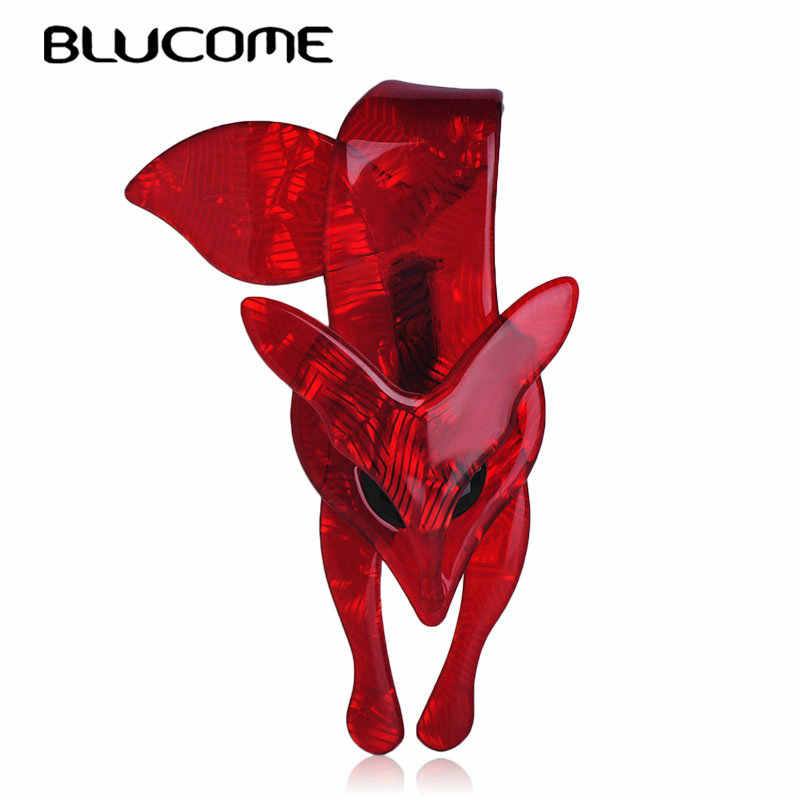 Blucome Flaming Fiery Red Fox Shape Brooch Striated Acrylic Jewelry For Lady Women Party Accessories Scarf Hat Bag Corsage Pins