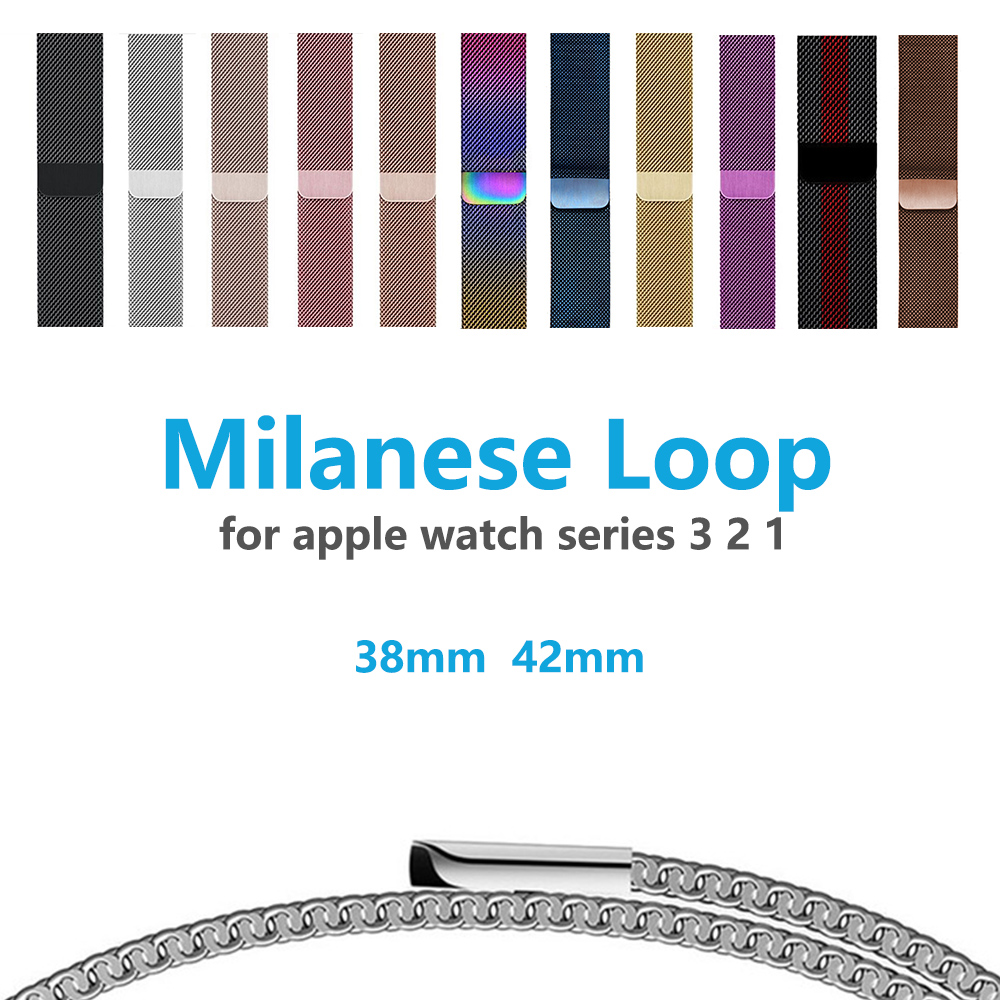 Malla de acero inoxidable Milanese loop band para apple watch 42mm 38mm Correa pulsera para la serie iwatch 3/2/ 1 Accesorios