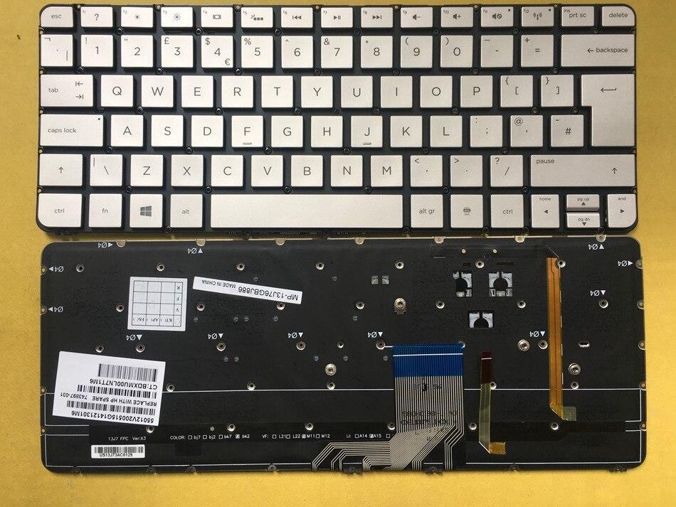 New UK Backlit Keyboard For HP Spectre 13-3000 Series 743897-031 Laptop Keyboard