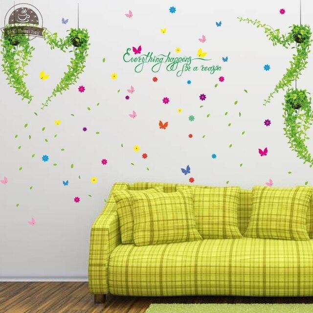 Butterfly green flower vine sofa DIY Vinyl Wall Stickers For Kids ...