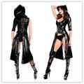Nueva llegada gothic punk wetlook sweet pea capucha de látex pvc vestido dress costume envío de caída libre + entrega rápida