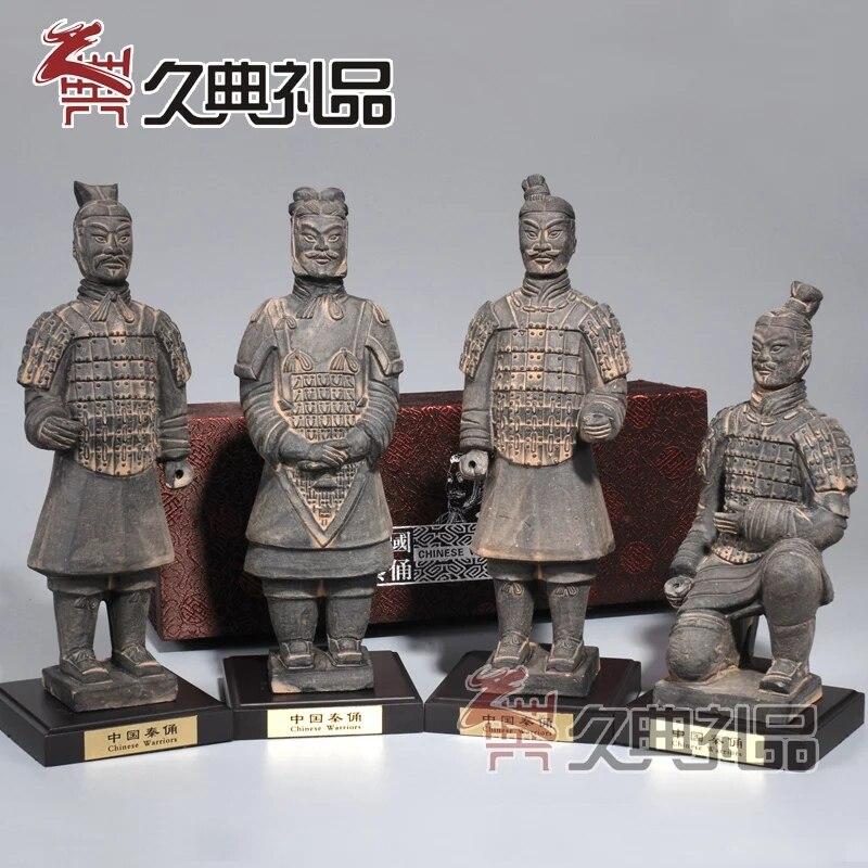 Chinois rétro ornements en terre cuite guerriers et chevaux antique ornement artisanat ornements salon den ornements cadeau
