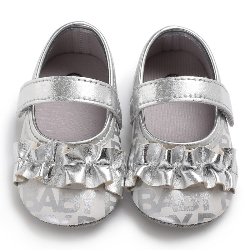 2018 Children Toddler The First Walker Shoes Shiny Gold Silver Ear Fungus Wrinkle Shoes Baby Girl Princess Shoes