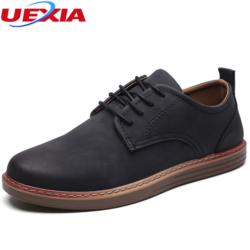 UEXIA New Autumn Leather Oxfords Shoes Business man Suede Casual Flats Men Shoes Comfortable Round Work Classic Martin Men Shoes