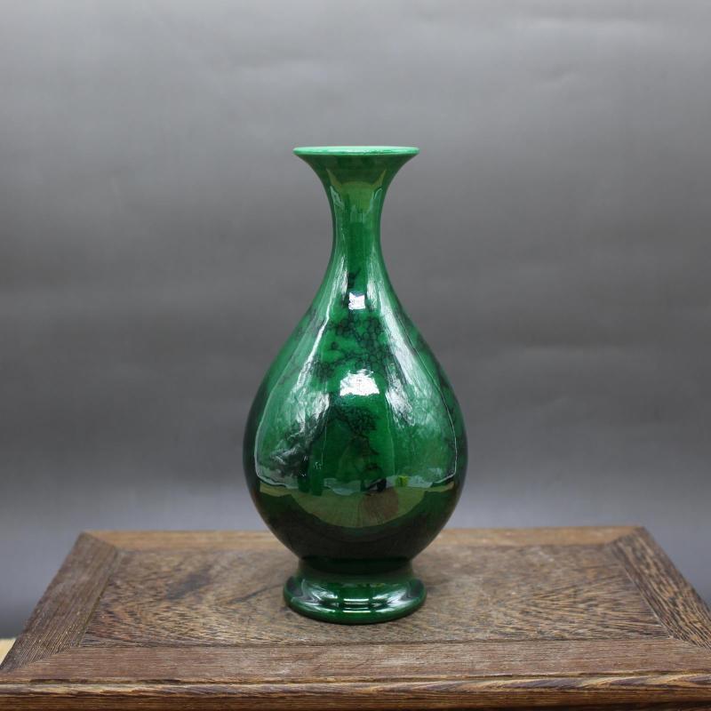 Chinese old porcelain Green Glaze Ink Figure Jade Pot Spring Vase