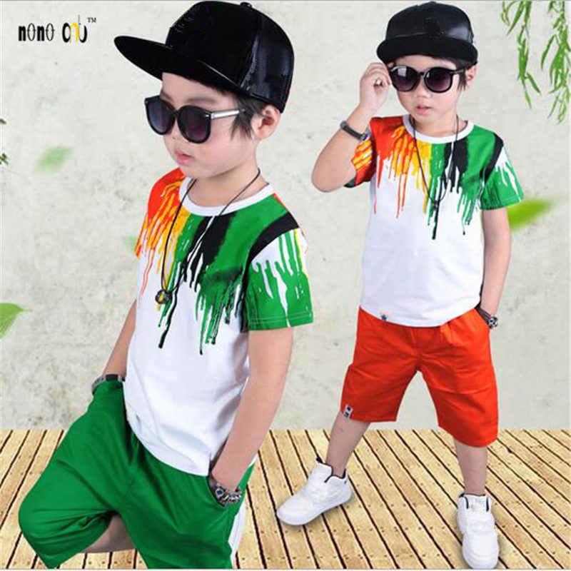 7aa379f71ef76 Спортивные костюмы подростков комплекты летней одежды для мальчиков  короткий рукав Футболка и штаны Повседневное 3 4