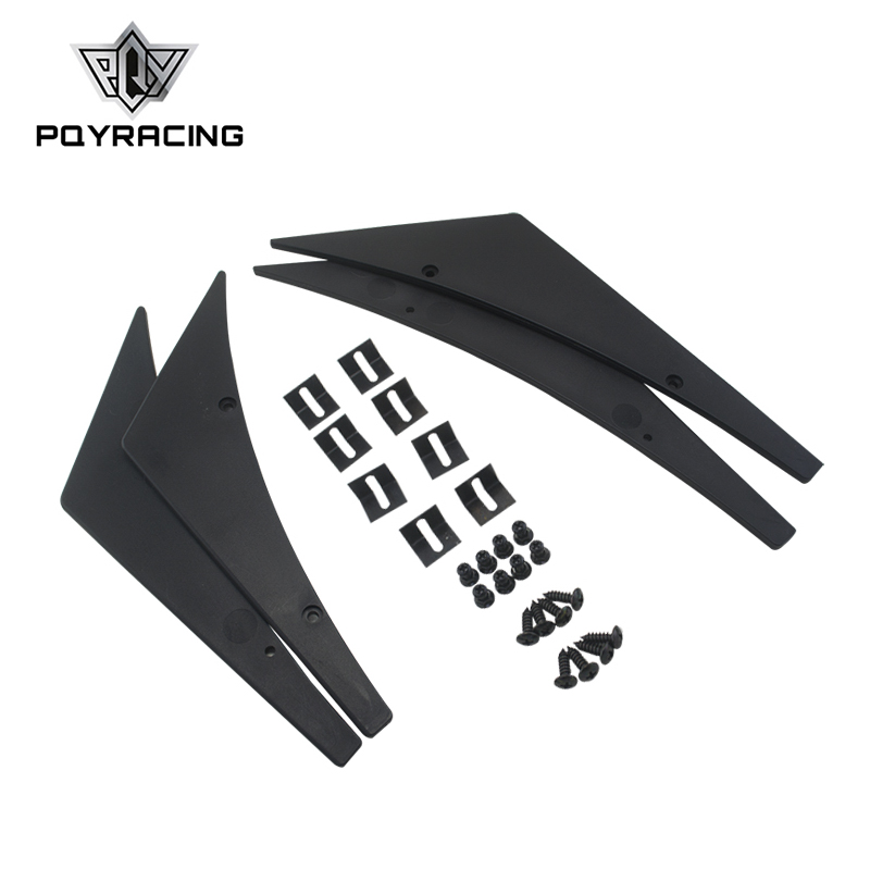 PQY RACING - New Universal Black Fit Front Bumper Lip Splitter Fins Body Spoiler Canards Valence Chin PQY-BS21