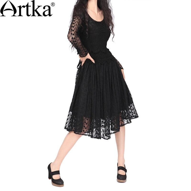 ARTKA Women S Work Style Vivian Romantic Embroidery Cutout Crochet Lace Slim Waist Formal Dress One