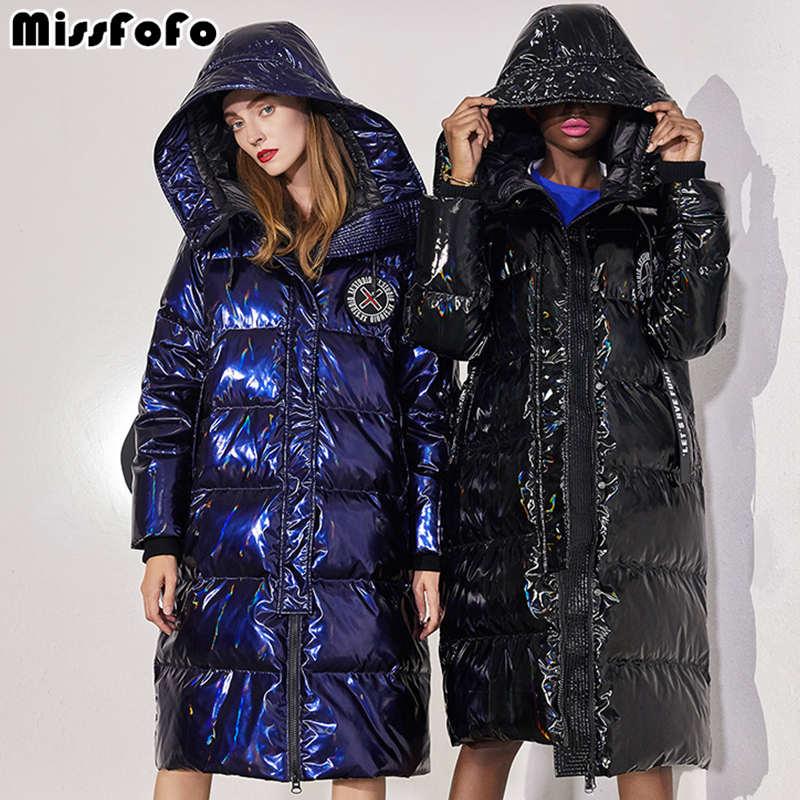 MissFoFo 2019 New Fashion Women Duck Down Jacket Shiny Bule Black Size XXL Waterproof Outwear Hood