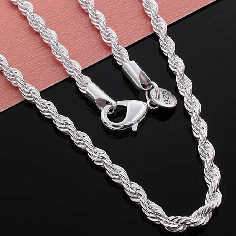 Hot sale Women Mens Silver plated necklaces with 925 stamped 2MM 3MM 4MM Twist Rope chains Choker Fashion Jewelry