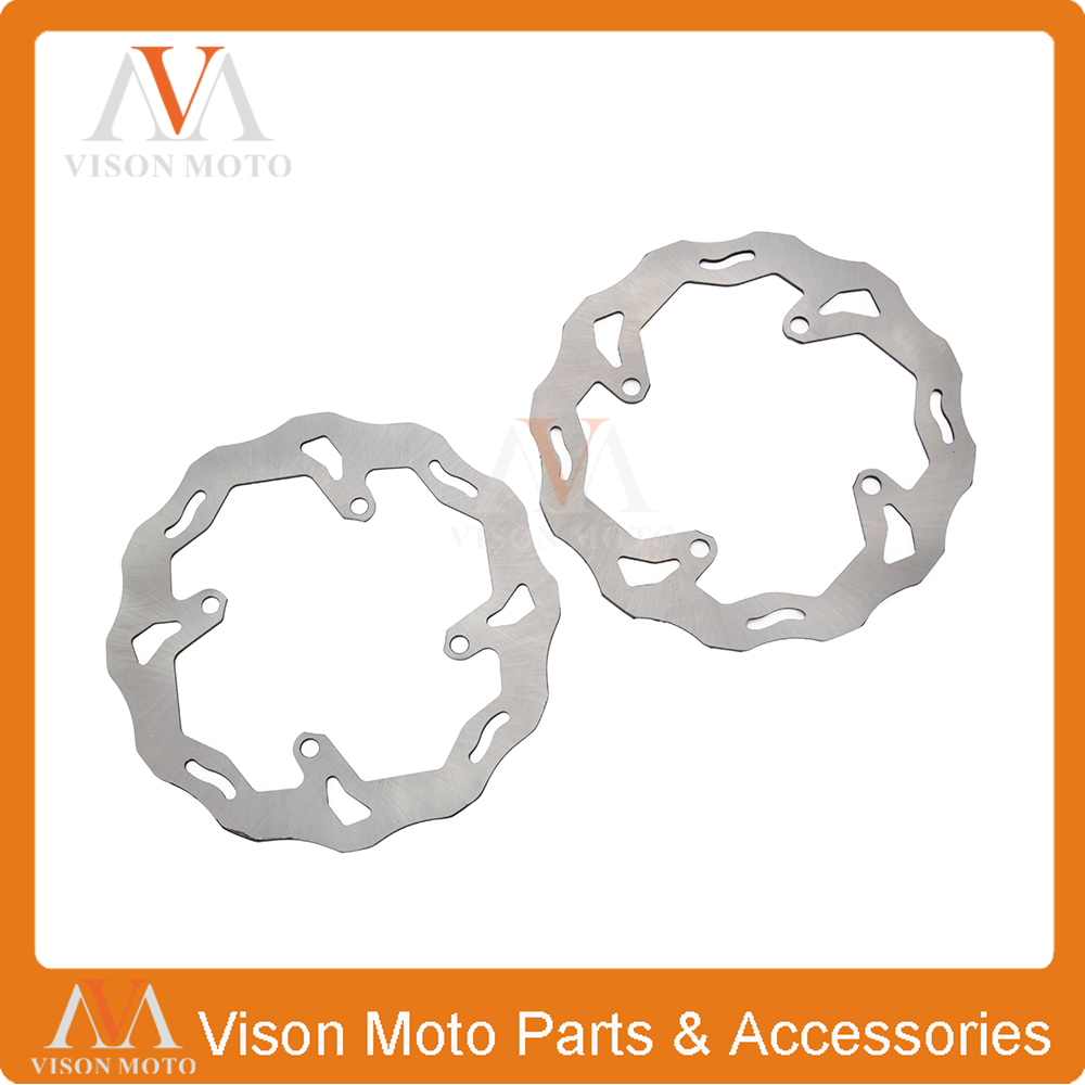 Front & Rear Wavy Brake Disc Rotor Set For Suzuki RMZ250 07-15 RMZ450 05-15 Supermoto Dirt Bike Off Road Motocross Racing bike road bicycle alloy mechanical disc brake set rear include 160mm centerline rotor 2 brake calipers 2 g3 disc rotors