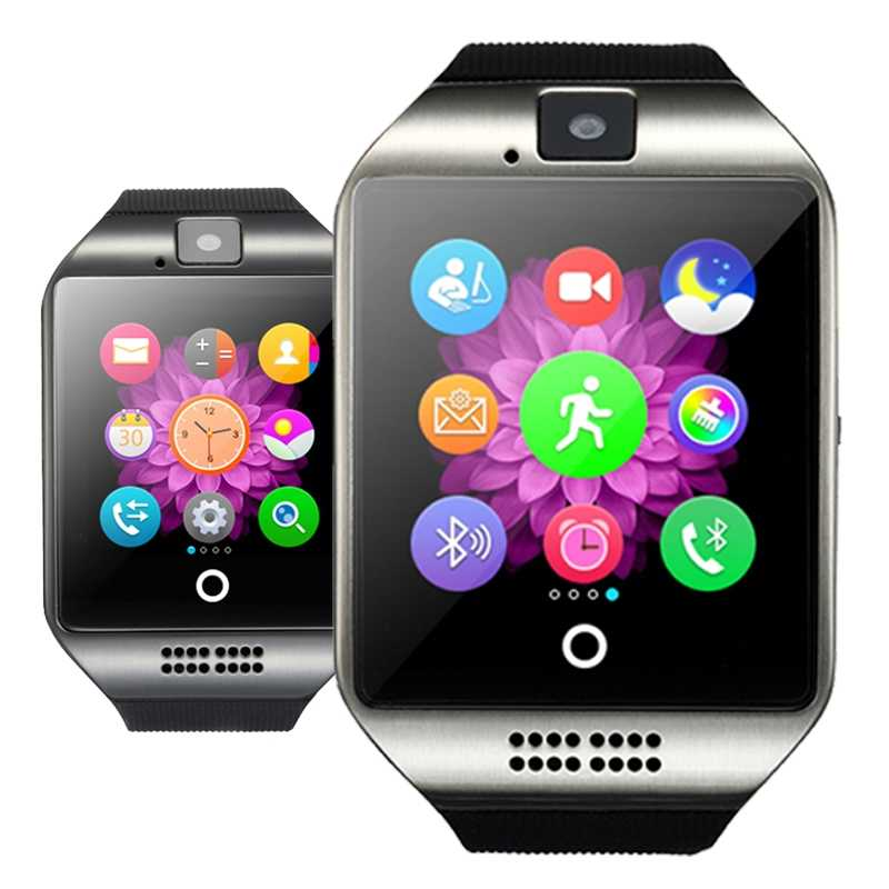 Montre intelligente Bluetooth Q18 avec caméra Facebook Whatsapp Twitter Sync SMS unisexe montre Support SIM + boîte d'origine + carte mémoire 8 GB