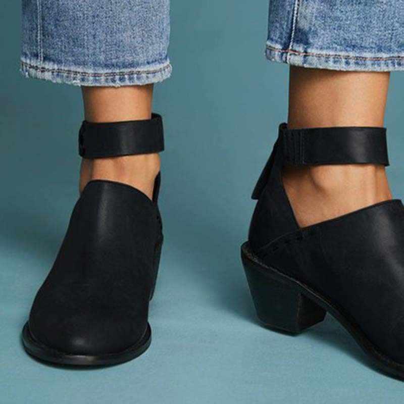 Kadın Faux süet çizmeler günlük tıknaz topuk Zip ayakkabı nefes kadın rahat ayakkabılar Retro bahar PU deri Dropshipping