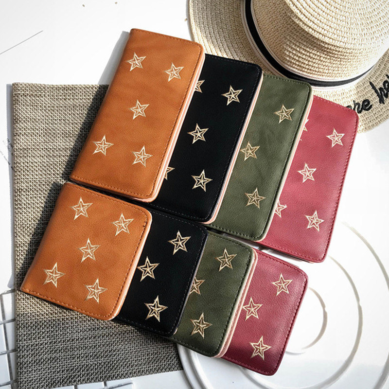 Embroidery Star Women Wallet Two Fold Small PU Leather Fashion Mini Female Coin Purse Card Holder Money Bags Carteira Feminina comics dc marvel wallets green arrow leather purse women money bags gift wallet carteira feminina bolsos mujer de marca famosa