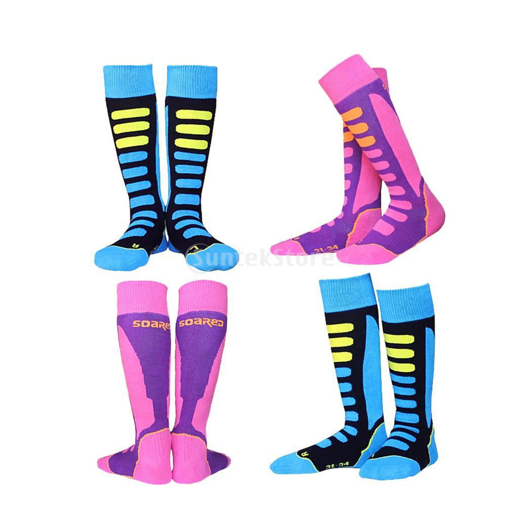 4 Pairs Unisex Kids Children Boys Girls Winter Sports Warm Thermal Long Ski Snowboarding Socks Walking Hiking Stockings EU 31-34