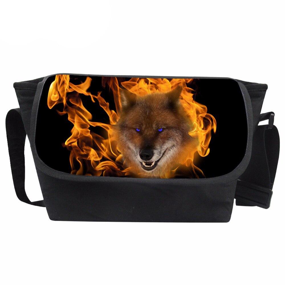 Customized Mens 3D Animal Prints Messenger Bags Teenager Burning Wolf Pattern Crossbody Bag Males Fashion Travel Bag