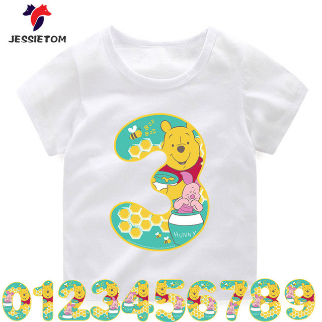 Birthday Boy Girl Bear Number Kawaii Design Print TshirtsChildrens Tiger Top Tee Enfant Camiseta Baby Clothes In T Shirts From Mother