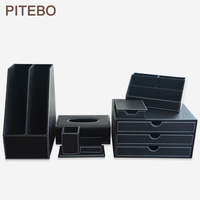 PITEBO black 6 PCS/set leather office desk stationery accessories organizer pen holder note case mouse mat roll tissue box