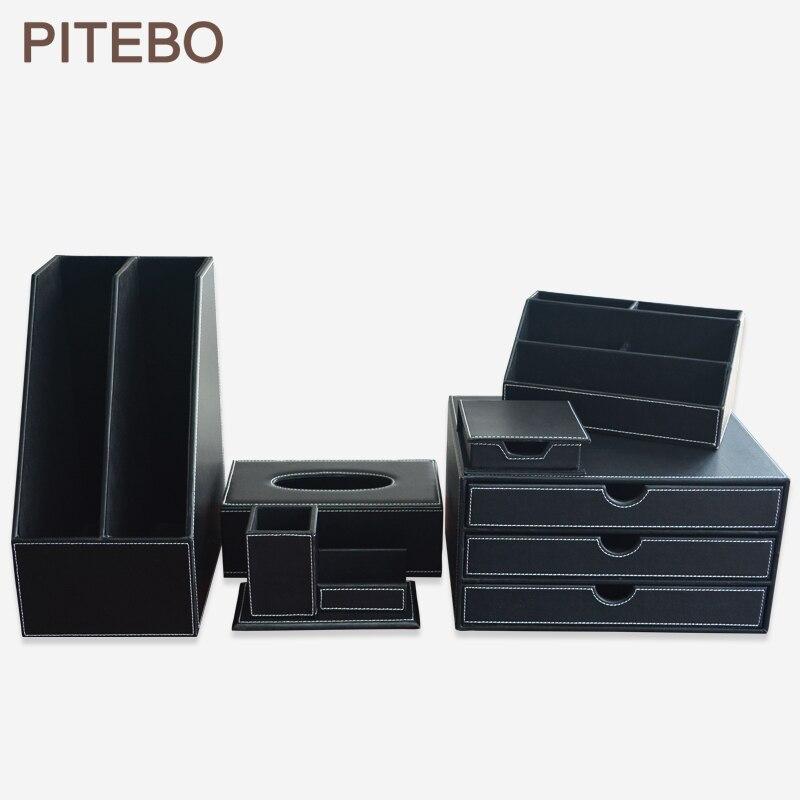 Pièces/ensemble organisateur d'accessoires de papeterie de bureau en cuir noir de 6 porte-stylo