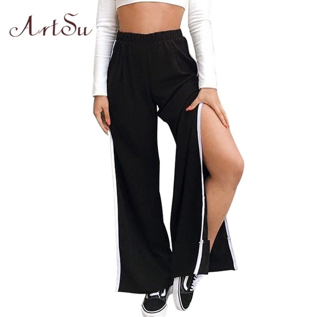 Pantaloni Piedino Vita Artsu Delle A Streetwear Larghi Del Donne K1JFcl
