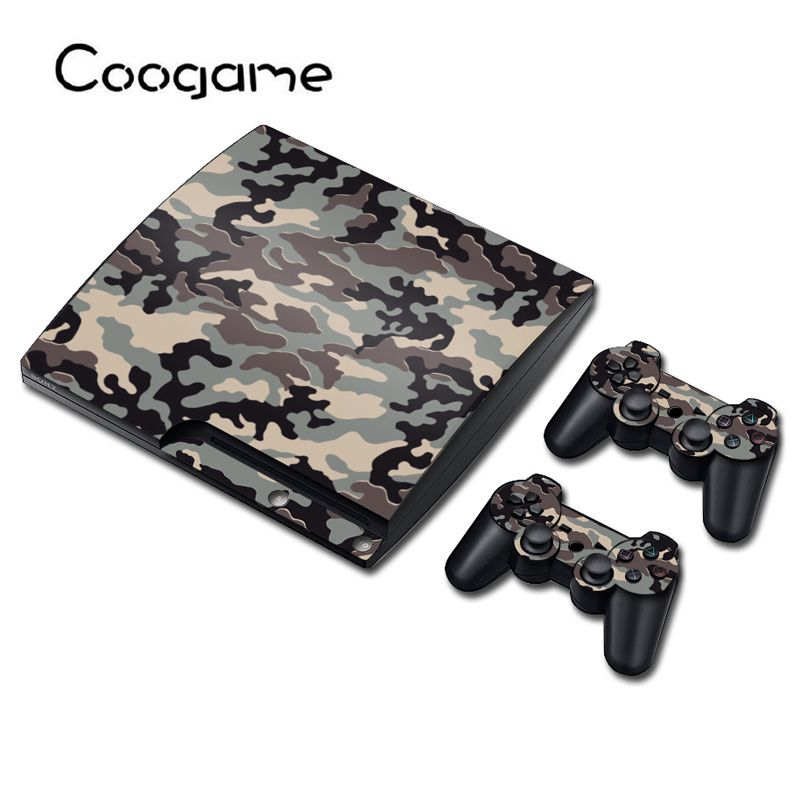 6 Styles Green Camo Vinyl Sticker For PS3 Slim Console Skin & 2 Controller Pads For Sony Playstation 3 Slim Decal