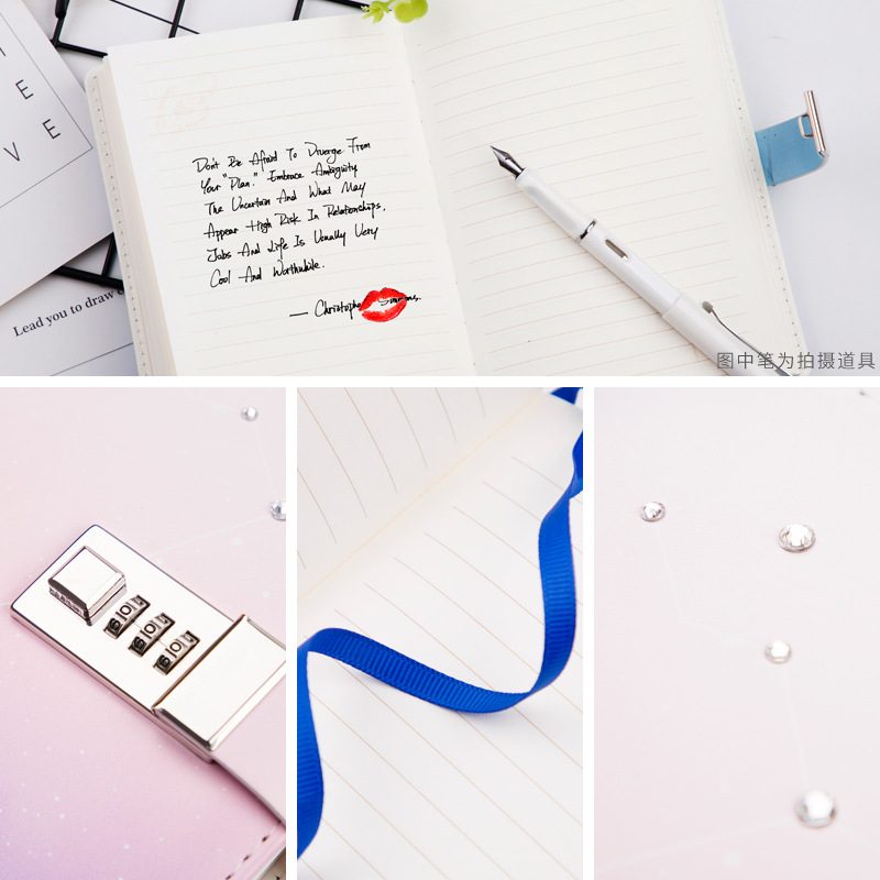 Image 3 - Kawaii B6 Notebook Set PU Creative Cute Constellation Planner Dividers Code Lock Note Books Personal Travel Journal Diary Book-in Notebooks from Office & School Supplies