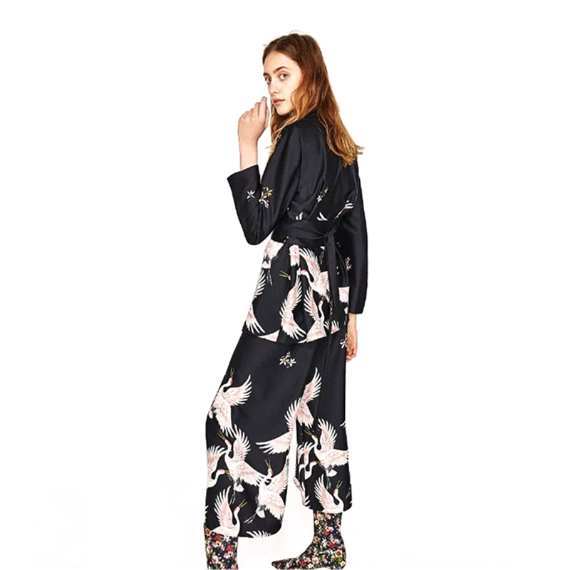 Summer women Chic Cranes print blazers and jackets ladies long sleeve 2017 female Black Shawl Collar Slim fit Coat pants