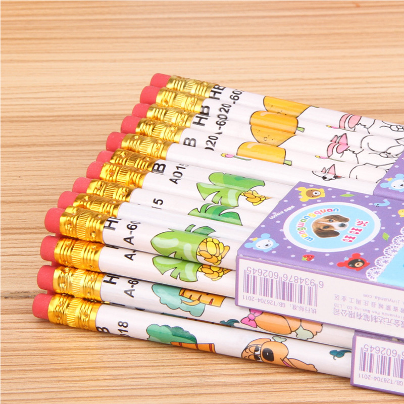 10pcs High Quality Wooden Pencil Cartoon Small Animal HB Pencil Professional School Writing Supplies