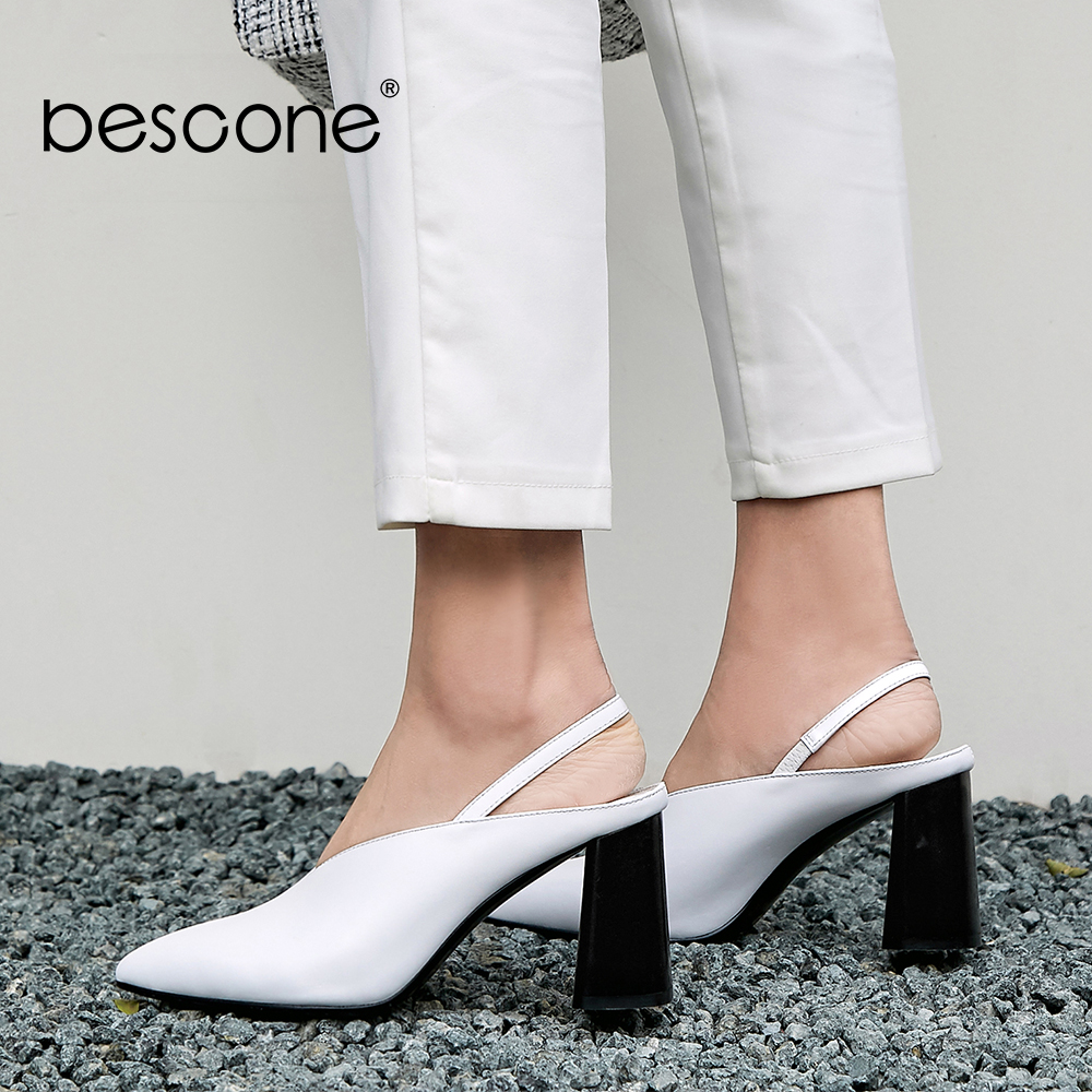 Bescone 정품 가죽 여성 신발 우아한 고품질 수제 지적 발가락 사무실 펌프 봄 하이 스퀘어 발 뒤꿈치 펌프 bo33-에서여성용 펌프부터 신발 의  그룹 1
