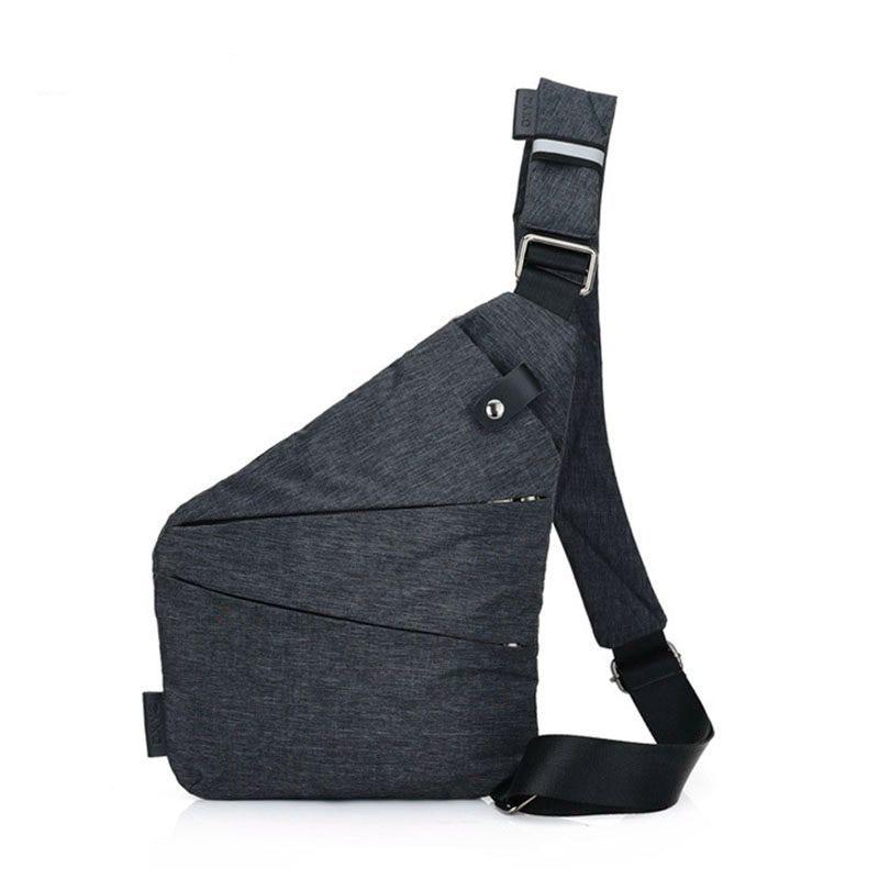 Anti-Theft MenS Messenger Bag Shoulder Bags Men Hidden Chest Pack Mens Fashion Crossbody Bag Cool Motorcycle Sling Bag Gray