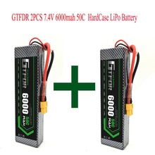 GTFDR 2pcs 2S 7.4V 6000mAh 50C Lipo Battery RC Parts Hard CaseT TRX XT60 AKKU For TRX TRX4 1/10 Car Drone Helicopter Toy велосипед dewolf trx 50 2018