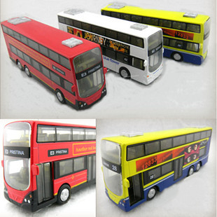 Old fashioned classic double layer bus acoustooptical WARRIOR alloy car model