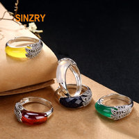 Sinzry new handmade 925 sterling silver vintage rhinestone natural stone feather rings lady fine jewelry Rings for Women