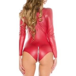 Image 5 - Sexy wetlook Lingerie Women Latex Catsuit Faux Leather Front Zipper Crotch Bodysuit Fetish Costumes Erotic Body Suit Plus Size