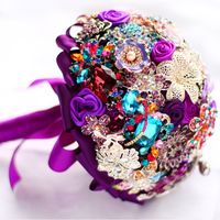 Elegant purple brooch bouquet Bridal Bride Bridesmaid Bouquets handmade crystal diamond Holding Flowers Wedding supplies