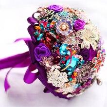 Elegant purple brooch bouquet Bridal Bride Bridesmaid Bouquets handmade crystal diamond Holding Flowers Wedding supplies