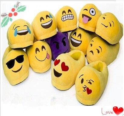 13 видов стилей зима emoji толстые плюшевые тапочки Крытый мультфильм Emoji Смайлик смайлик Плюшевые взрослых Шлёпанцы для женщин теплые подарки