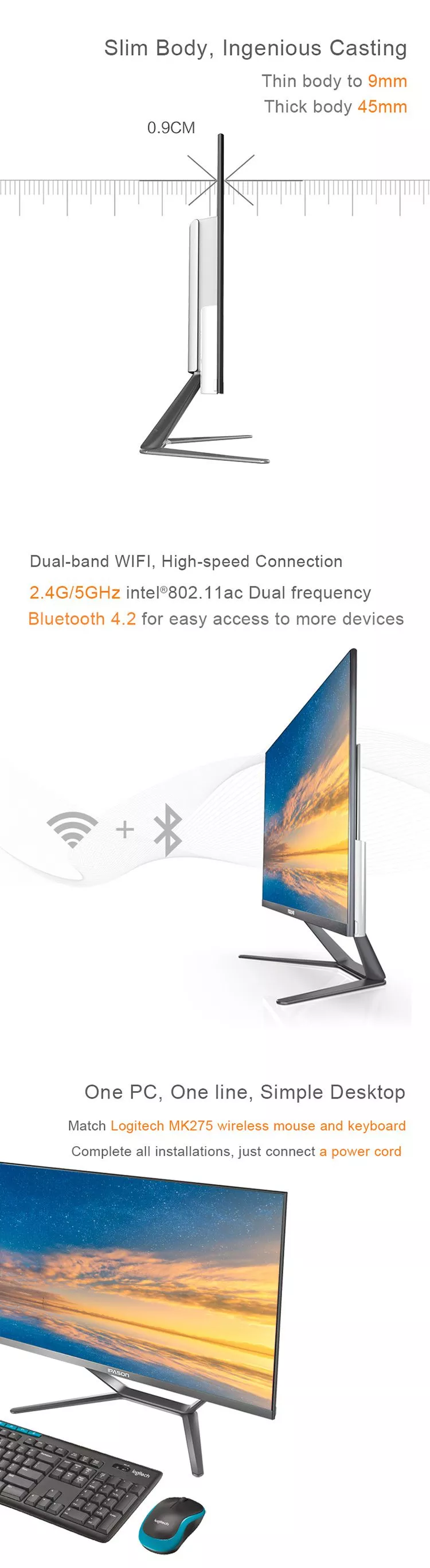 IPASON all in one PC 21.5 polegada