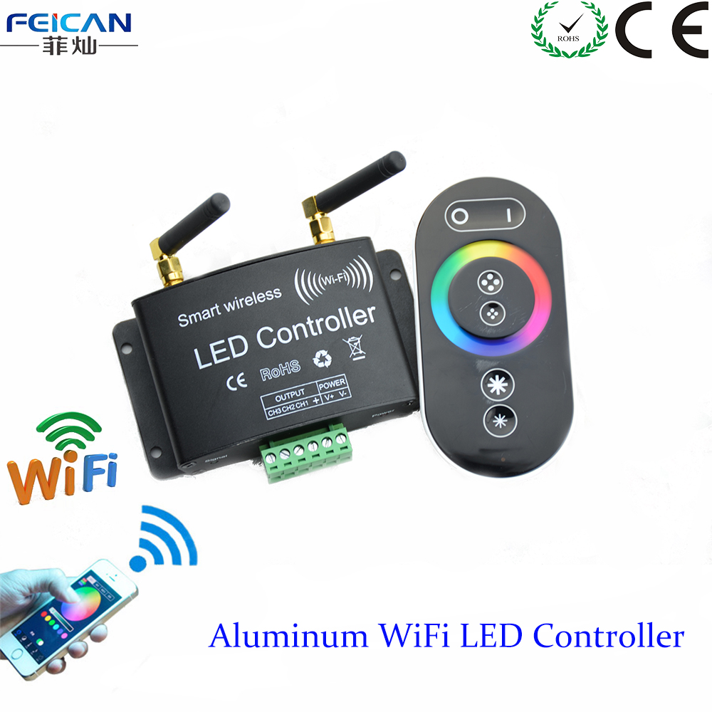 dc12 24v rgb wifi led controller rf touch remote control controller by android ios app for. Black Bedroom Furniture Sets. Home Design Ideas